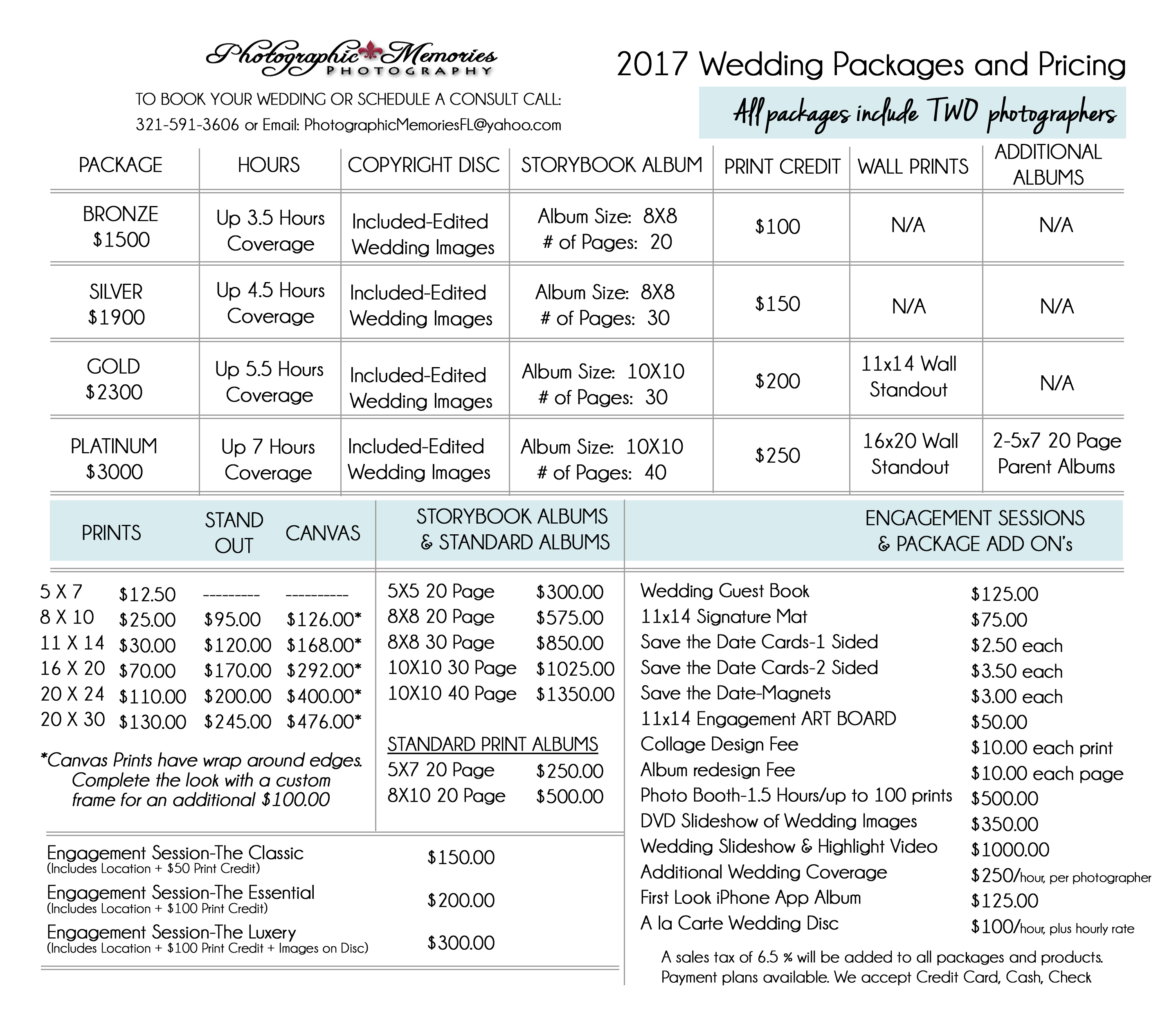 Superior 2017 Wedding Price List